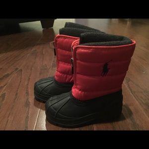Ralph Lauren Polo red zip front snow boots 6/22